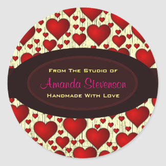 Bright Red Hearts Handmade With Love Round Sticker