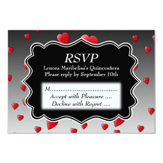 Bright Red Hearts Pattern Quinceanera 9 Cm X 13 Cm Invitation Card