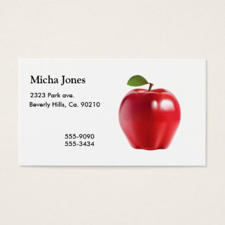 Bright Red Juicy Delicious Apple Business Card