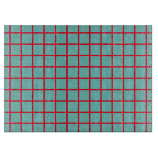 Bright Red Lattice Stripes on Light Teal Cutting Board