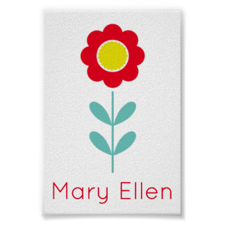 Bright Red Light Teal and Yellow Flower Tiny Poster
