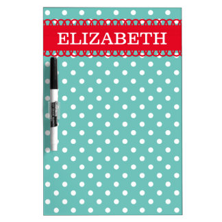 Bright Red Light Teal White Polka Dot Personalized Dry Erase Board