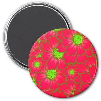 Bright Red Lime Green Daisy Flowers Floral Pattern 7.5 Cm Round Magnet