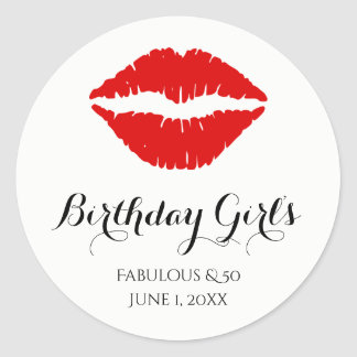 Bright Red Lipstick Fabulous & 50 Birthday Party Classic Round Sticker