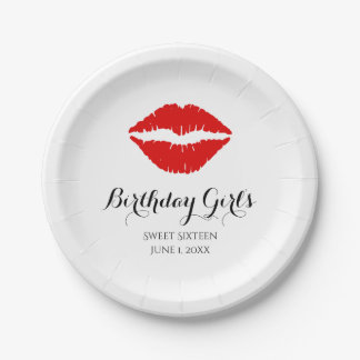 Bright Red Lipstick Sweet Sixteen Birthday Party Paper Plate