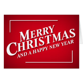 Bright Red Merry Christmas Greetings Card