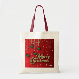 Bright Red Merry Christmas Ornaments Budget Tote Bag