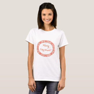 Bright Red on White Christmas Wreath to Customise T-Shirt
