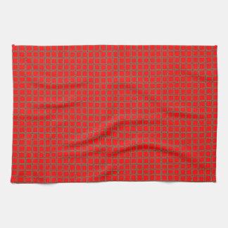 Bright Red Pattern Trendy Tea Towel
