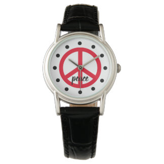 Bright Red Peace Symbol Personalized Watch