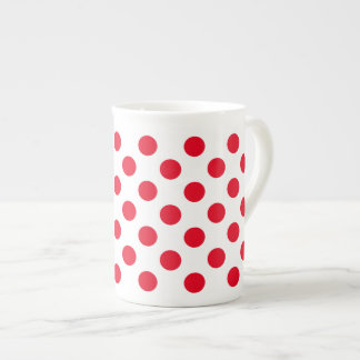 Bright Red Polka Dot Tea Cup