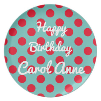 Bright Red Polka Dots on Light Teal Personalized Plates