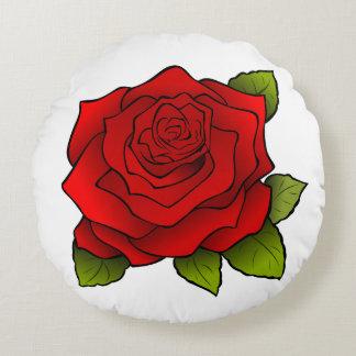 Bright Red Rose Art Round Cushion