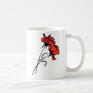Bright Red Rose Brushstroke Basic White Mug