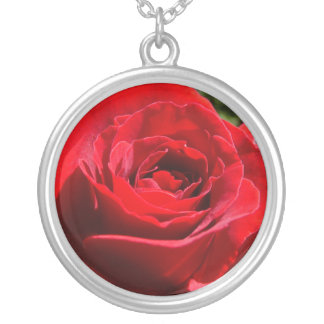 Bright Red Rose Flower Beautiful Floral Silver Plated Necklace