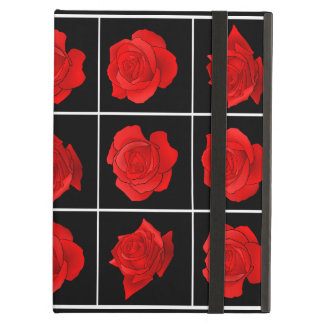 Bright Red Rose Vector Flowers on Black iPad Air Cover