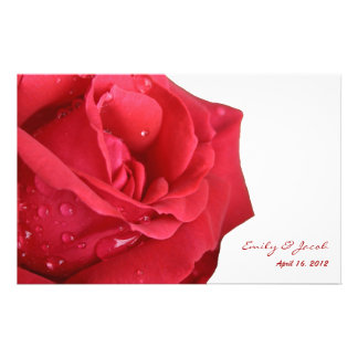 Bright Red Rose Wedding Program Full Color Flyer