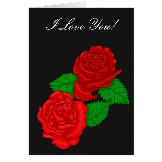Bright Red Roses Card