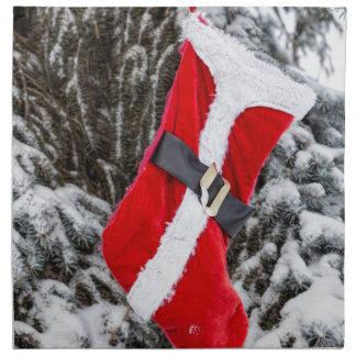 Bright Red Santa Stocking Napkin