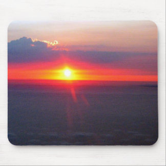 Bright Red Setting Sun Mouse Pads