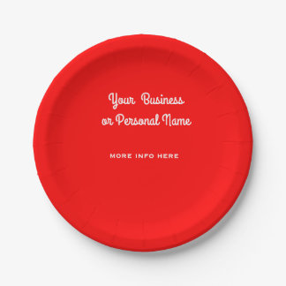 bright red solid color - your details paper plate
