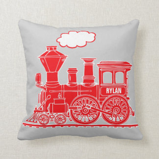 Bright red steam train loco grey throw pillow