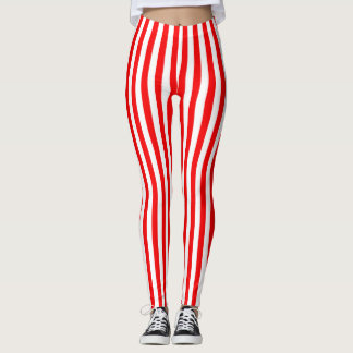 Bright red striped leggings