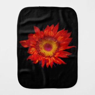 Bright Red Sunflower Black Baby Burp Cloth