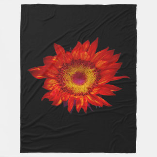 Bright Red Sunflower Black Fleece Blanket