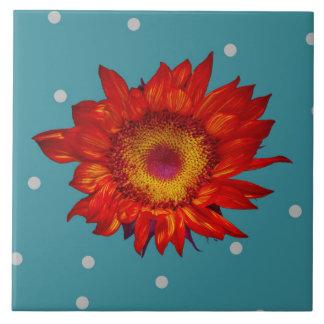 Bright Red Sunflower on Blue Ceramic Tile