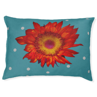 Bright Red Sunflower on Blue Dog Bed