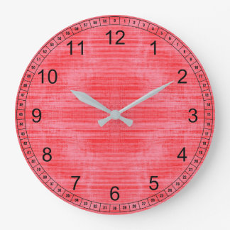 Bright Red Texture Large Clock