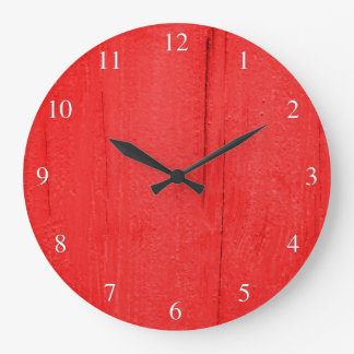 Bright Red Textured Wood Small Numbers Clock