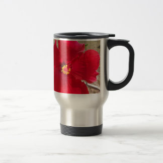 bright red tropical hibiscus flower travel mug
