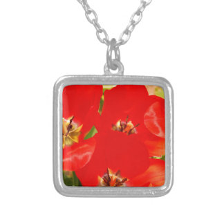 Bright Red Tulips Silver Plated Necklace
