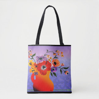 Bright Red Vase of Blooming Flowers Tote Bag