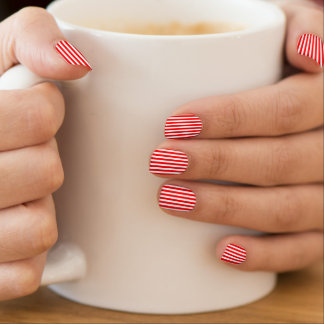 Bright Red Vertical Stripes Minx Nail Art