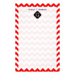 Bright Red White Chevron Black Quatrefoil Monogram Personalized Stationery