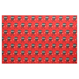 Bright Red with Ninjas Fabric