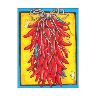 Bright Red Yellow Chili Chile Pepper Ristra Lizard Canvas Print