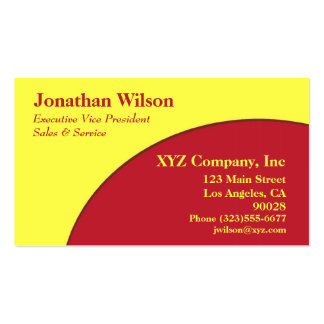 Bright red yellow circle business cards