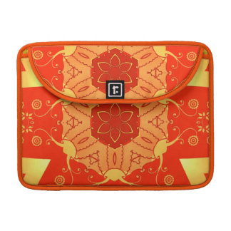 bright red & yellow oriental feel geometric floral sleeves for MacBook pro