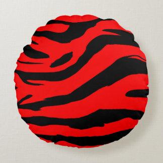 Bright Red Zebra Print Round Cushion