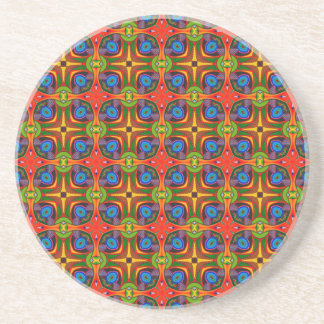 Bright Reds Blues and Greens Pattern2 Sandstone Coaster