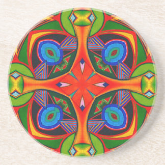 Bright Reds Blues and Greens Pattern Coasters