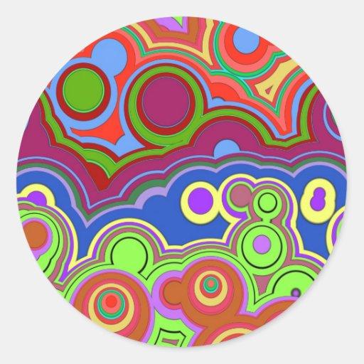 bright retro hippie rings stickers