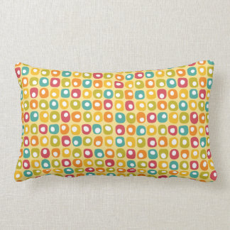 Bright retro square dots pattern red teal yellow pillow