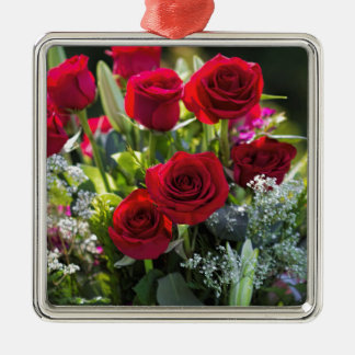 Bright Romantic Red Rose Bouquet Silver-Colored Square Decoration