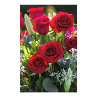 Bright Romantic Red Rose Bouquet Stationery Design