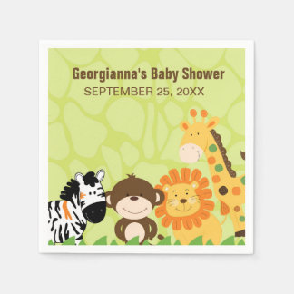 Bright Safari Animals Custom Napkin Paper Napkin